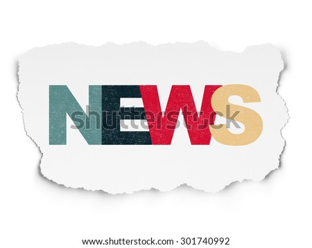 News concept: Painted multicolor text News on Torn Paper background, 3d render - stock photo