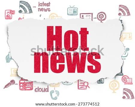 News concept: Painted red text Hot News on Torn Paper background with Scheme Of Hand Drawn News Icons, 3d render - stock photo
