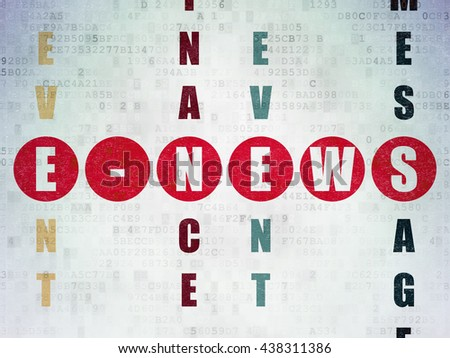 News concept: Painted red word E-news in solving Crossword Puzzle on Digital Data Paper background - stock photo