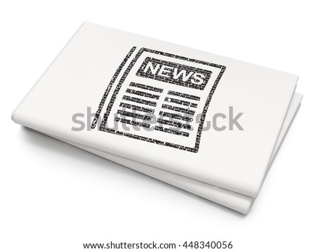 News concept: Pixelated black Newspaper icon on Blank Newspaper background, 3D rendering