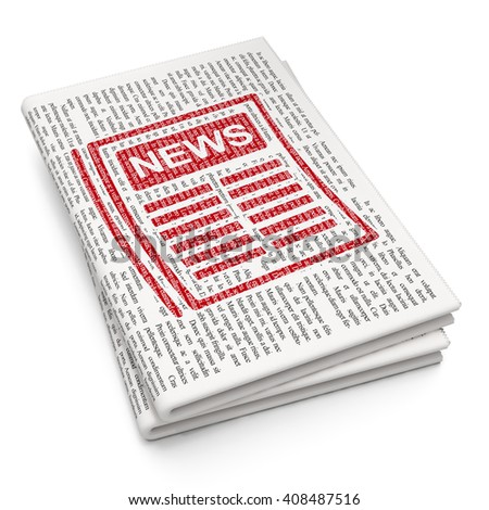 News concept: Pixelated red Newspaper icon on Newspaper background, 3D rendering - stock photo