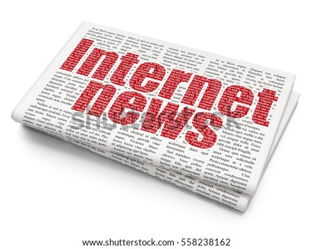 News concept: Pixelated red text Internet News on Newspaper background, 3D rendering