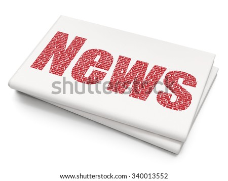 News concept: Pixelated red text News on Blank Newspaper background - stock photo