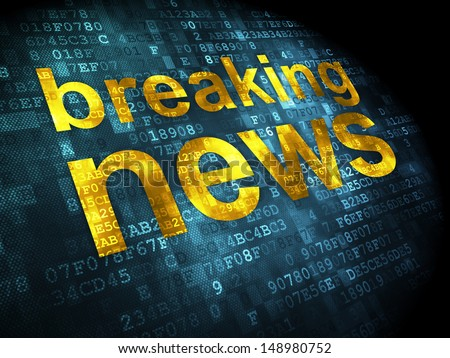 News concept: pixelated words Breaking News on digital background, 3d render - stock photo