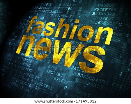 News concept: pixelated words Fashion News on digital background, 3d render
