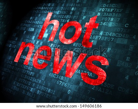 News concept: pixelated words Hot News on digital background, 3d render
