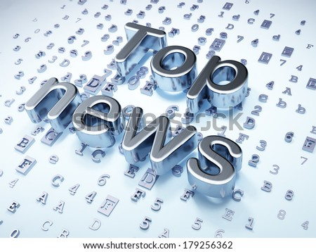 News concept: Silver Top News on digital background, 3d render - stock photo