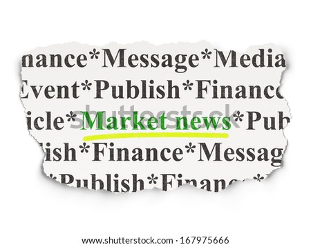 News concept: torn newspaper with words Market News on Paper background, 3d render