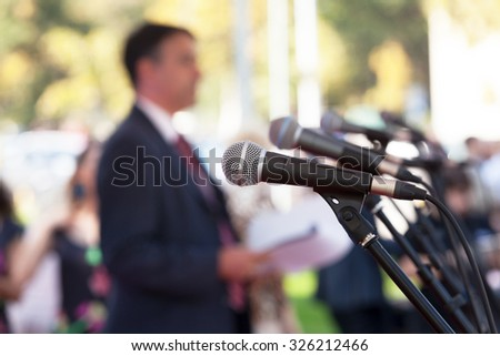 News conference. Microphones. - stock photo