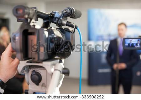 News conference. Spokesman. - stock photo