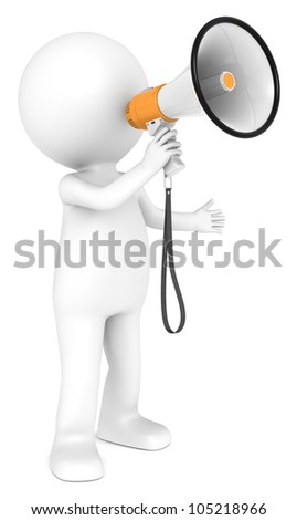 News. 3d little human character with an Orange Megaphone.  People series. - stock photo