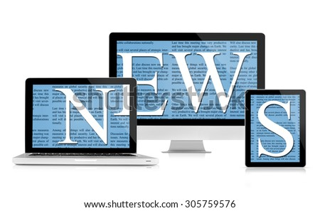 News feed on devices - stock photo