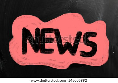 News handwritten with chalk on a blackboard - stock photo