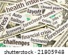 News headlines and money representing an economy in recession - stock photo