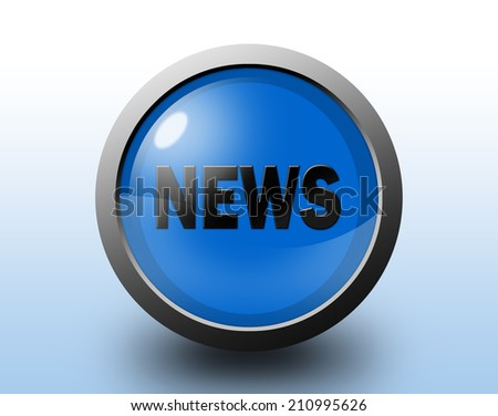 News icon. Circular glossy blue button. - stock photo