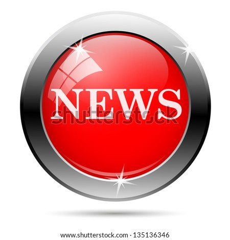 news icon with white writing on red background - stock photo