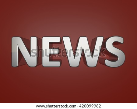 News metallic text on red background - stock photo