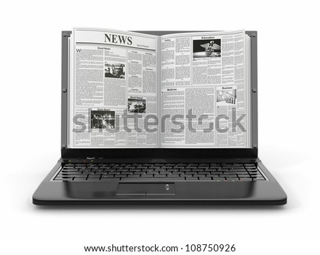 News. Newspaper as  laptop screen on white background. 3d - stock photo