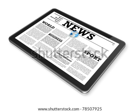 News on a digital tablet pc computer - isolated on white with 2 clipping path : one for global scene and one for the screen - stock photo
