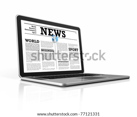 News on a laptop computer isolated on white with clipping path