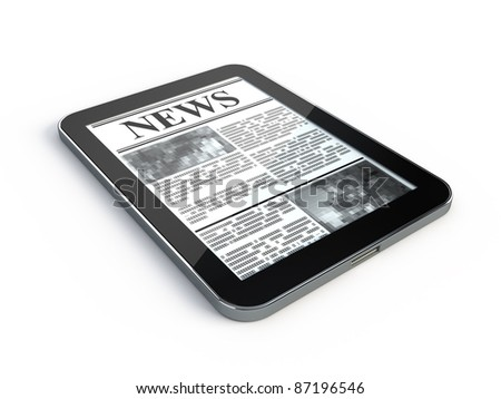 News on Tablet PC - stock photo