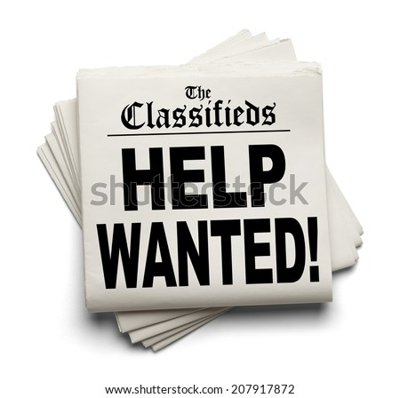 News Paper Classifieds Section Help Wanted Headline Isolated on White Background. - stock photo