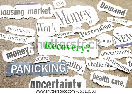News paper headlines showing bad news and Recovery question. - stock photo