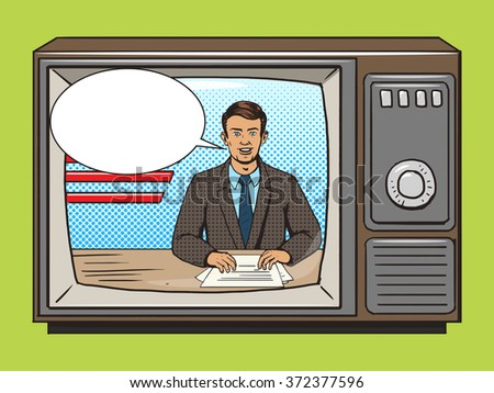 News presenter on tv pop art style raster illustration. Comic book style imitation. Vintage retro style. Conceptual illustration