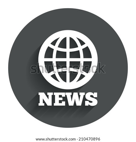 News sign icon. World globe symbol. Circle flat button with shadow. Modern UI website navigation.