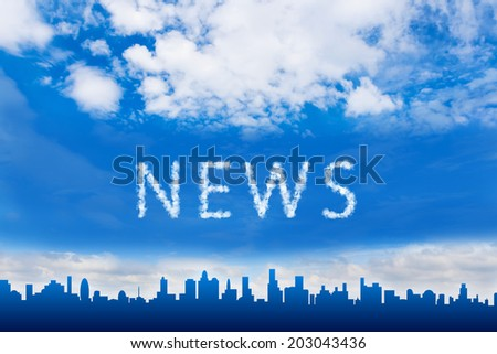 news text on cloud with blue sky - stock photo