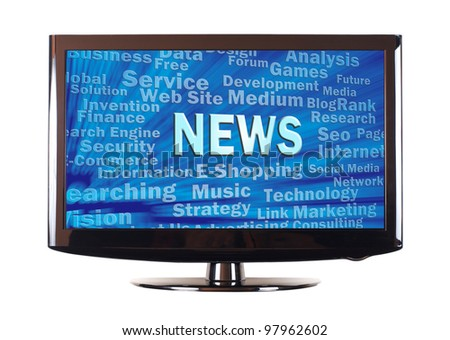 News word and internet related words show on screen - stock photo