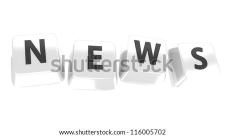 NEWS written in black on white computer keys. 3d illustration. Isolated background. - stock photo