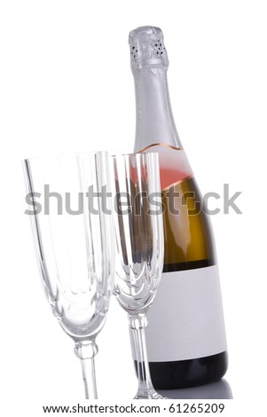 news year eve champagne bottle isolated on white - stock photo
