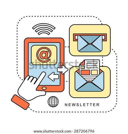 newsletter concept: ready to send an e-mail in line style - stock photo