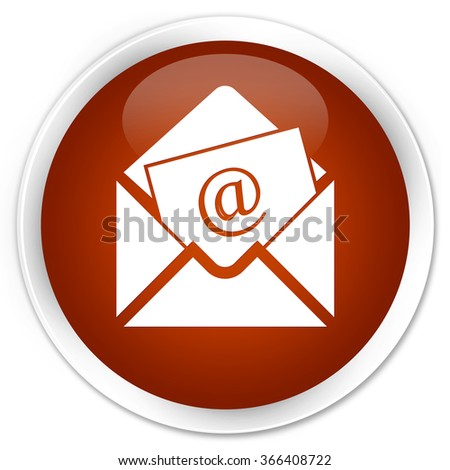 Newsletter email icon brown glossy round button