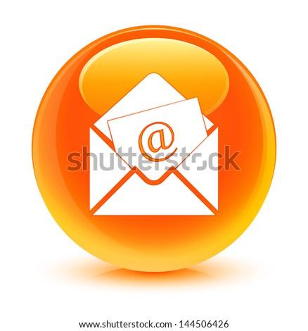 Newsletter email icon glassy orange button - stock photo