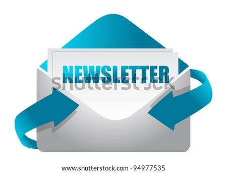 newsletter envelope illustration design on white illustration - stock photo