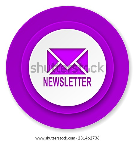 newsletter icon, violet button  - stock photo