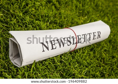 newsletter newspaper on a green meadow - stock photo
