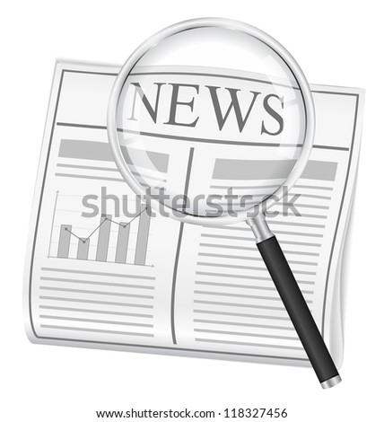 Newspaper and magnifying glass - stock photo
