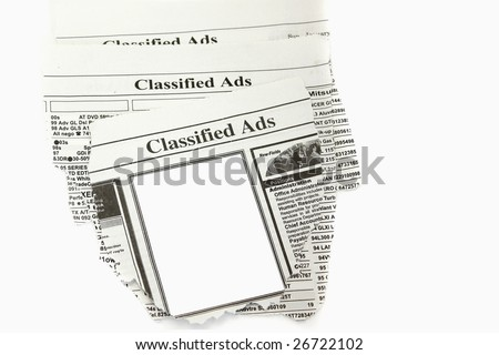 Newspaper classified ads.Blank space for your text. - stock photo