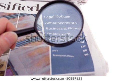 Newspaper classified ads section