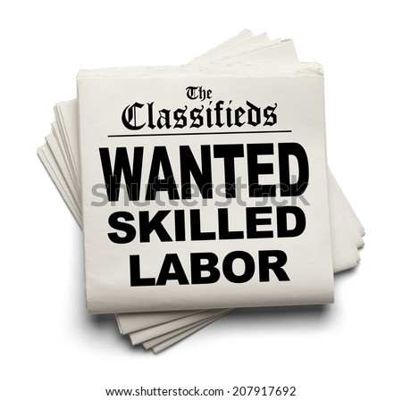 Newspaper Classifieds with Wanted Skilled Labor Headline Isolated on White Background. - stock photo