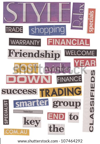 Newspaper cut out words isolated on stock photo 107464292 shutterstock newspaper cut out words isolated on white in different colors and fonts publicscrutiny Choice Image