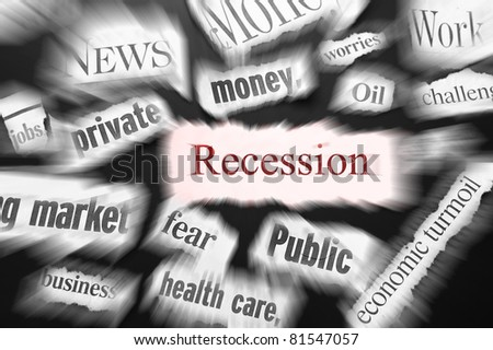newspaper headlines showing bad news, recession related - stock photo