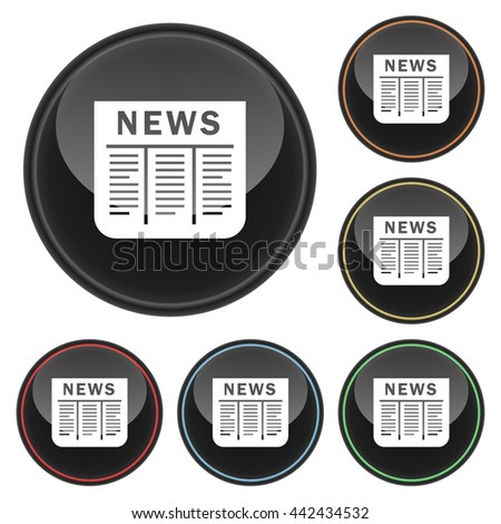 Newspaper Icon Glossy Button Icon Set in With Various Color Highlights.  Raster Version - stock photo