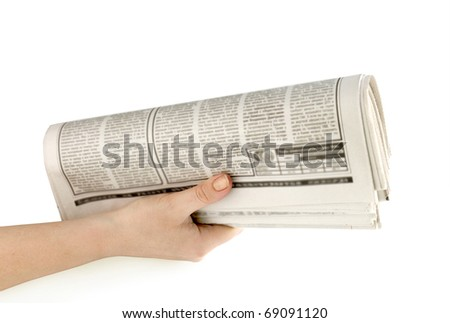 newspaper in hand isolated on white