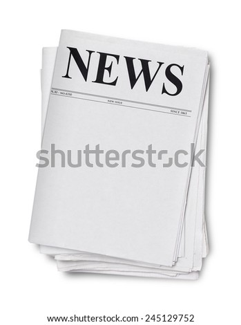 Newspaper isolated on white - stock photo