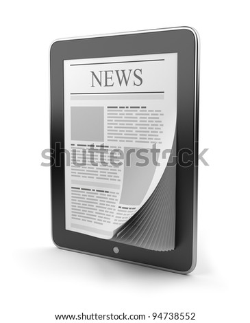 Newspaper on tablet pc. Mobile device 3D.  Icon isolated on white