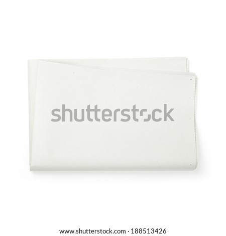 Newspaper on white background - stock photo